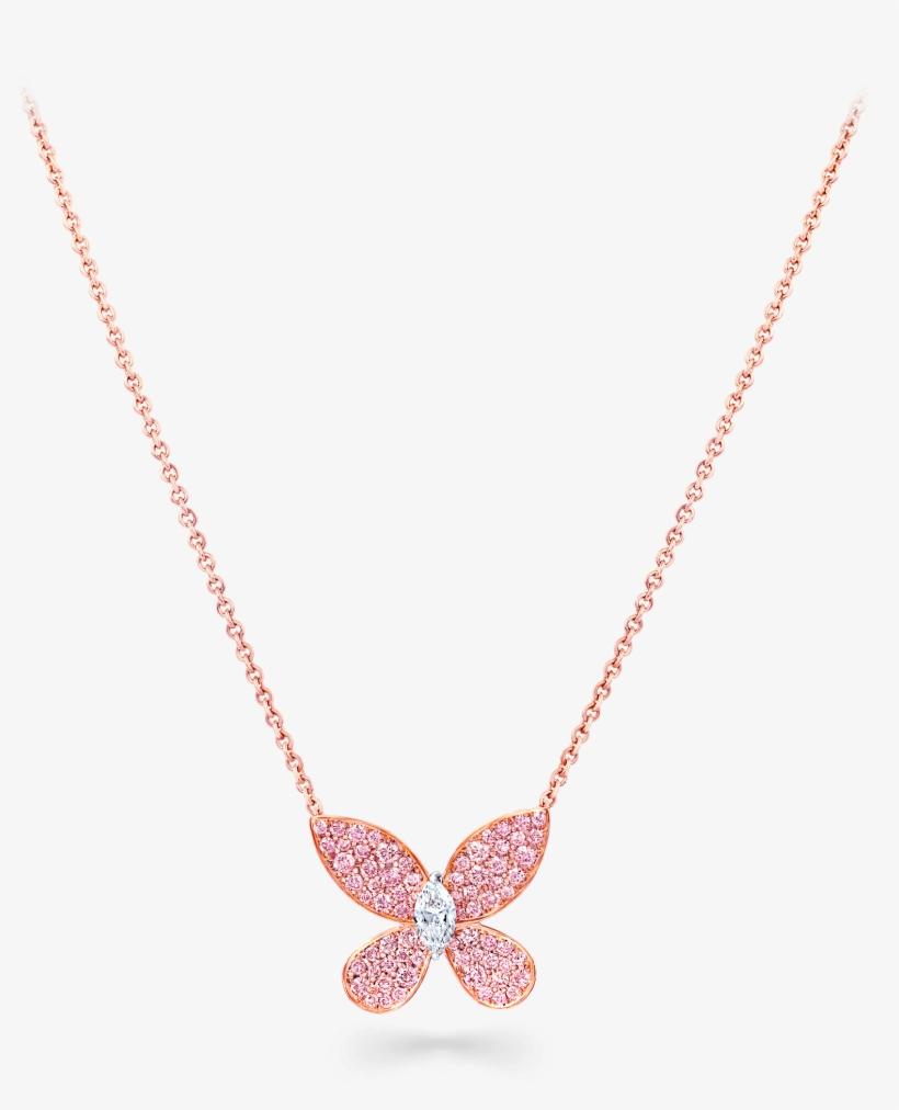 55787181fa148 A Graff Pavé Butterfly Pink And White Diamond Pendant - Pendant ...