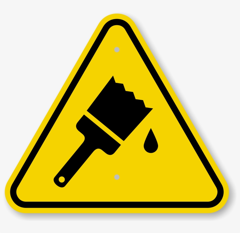Triangle Warning Sign - Caution Wet Paint Sign, transparent png #2756623