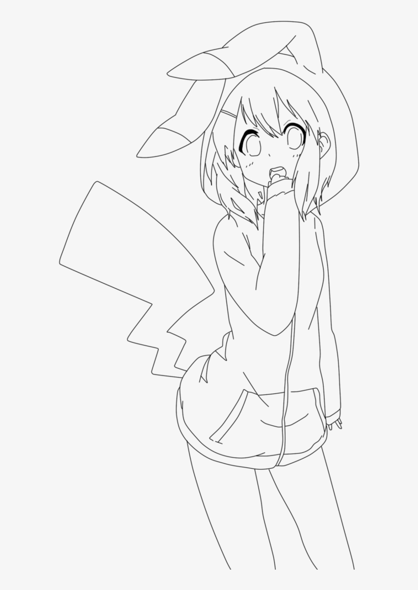 Collection of anime pikachu girl drawing high quality line art