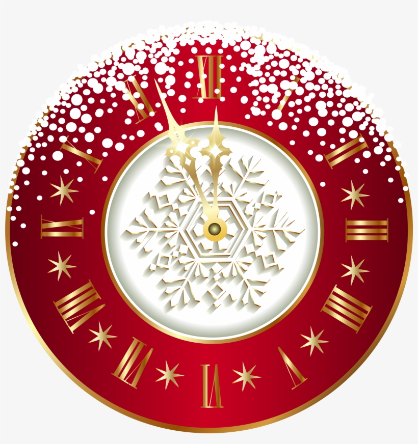 Red New Year Clock Png Clipart Image - Tubes New Year 2017 Png, transparent png #2758239