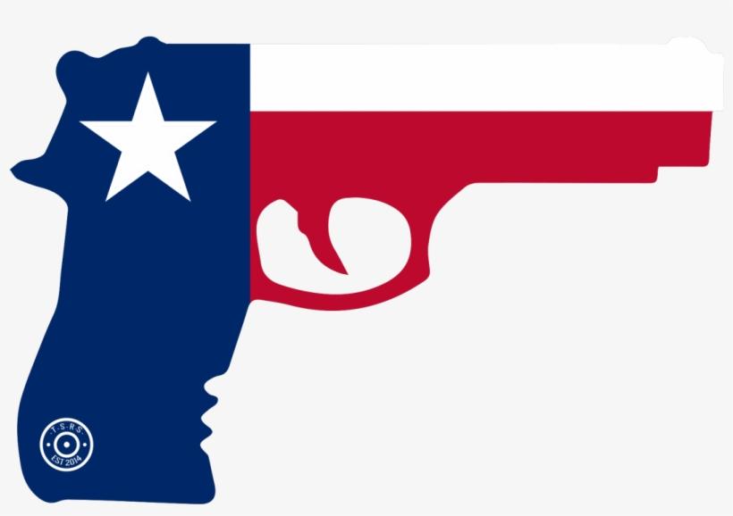 State Of Texas Gun Window Decal - Texas Flag And Gun, transparent png #2758883