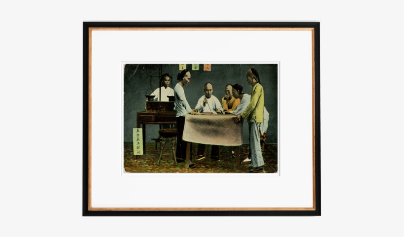 Vintage Original 1910 Chinese Men Gambling In Hong - Picture Frame, transparent png #2766588