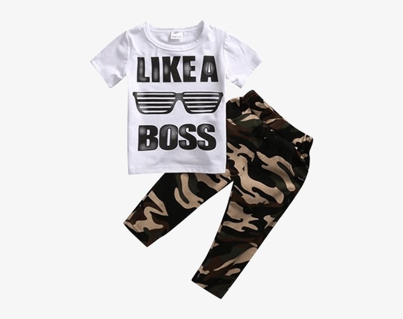 Petite Bello Clothing Set 1-2t Like A Boss Camouflage - Solid Color Fashion Summer Casual Clothes Set, transparent png #2775413
