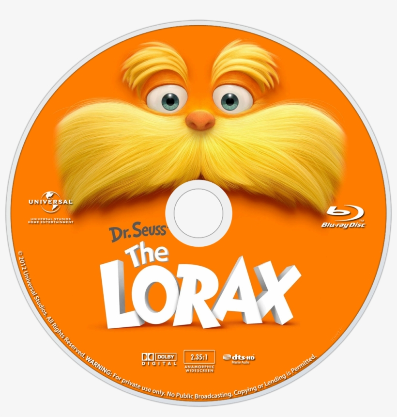 Seuss' The Lorax Bluray Disc Image - Lorax Blu Ray Disc, transparent png #2775657
