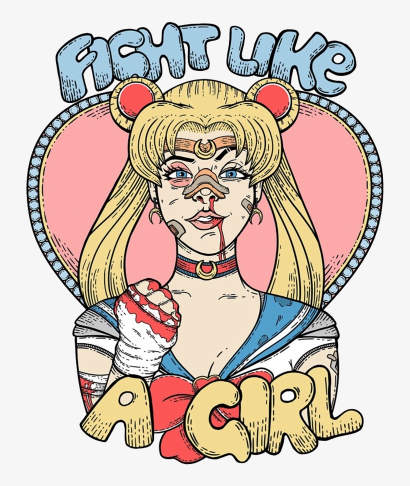 Girl, Sailor Moon, And Feminist Image - Fight Like A Girl Sailor Moon, transparent png #2776390