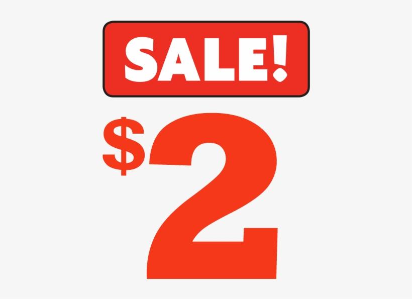 Dollar Wow - 2 Dollar Sale Sign, transparent png #2783322