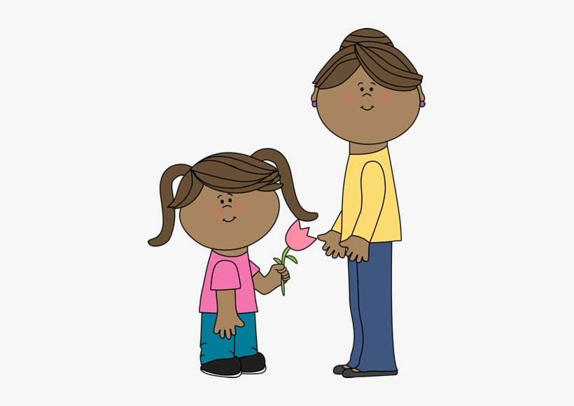 I Love You Mom Clipart Free Clipart Images - Girl Holding A Flower Clip Art, transparent png #2784927