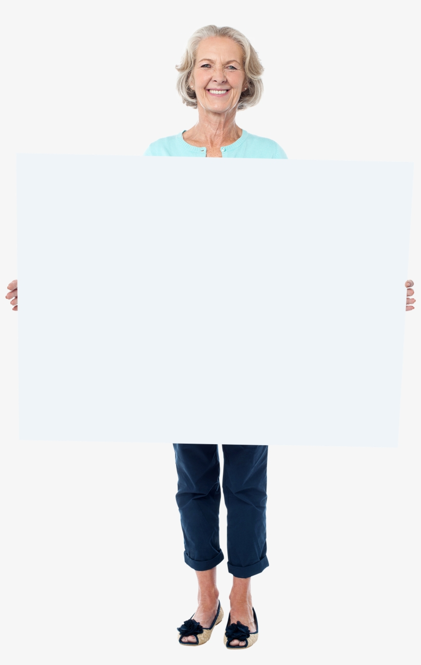 Old Women Holding Banner Png Image - Woman Holding Banner, transparent png #2785729