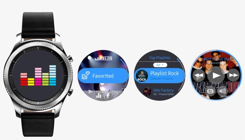 Deezer App Concept For Samsung Gear S3 - Samsung Gear S3 Classic Smartwatch  - Free Transparent PNG Download - PNGkey