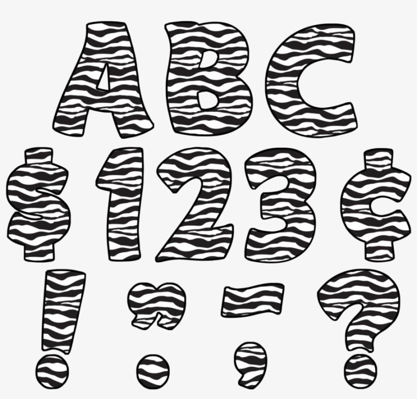 "Tcr5375 Zebra Print Funtastic 4"" Letters Uppercase - Letras De Animal Print, transparent png #2789533"