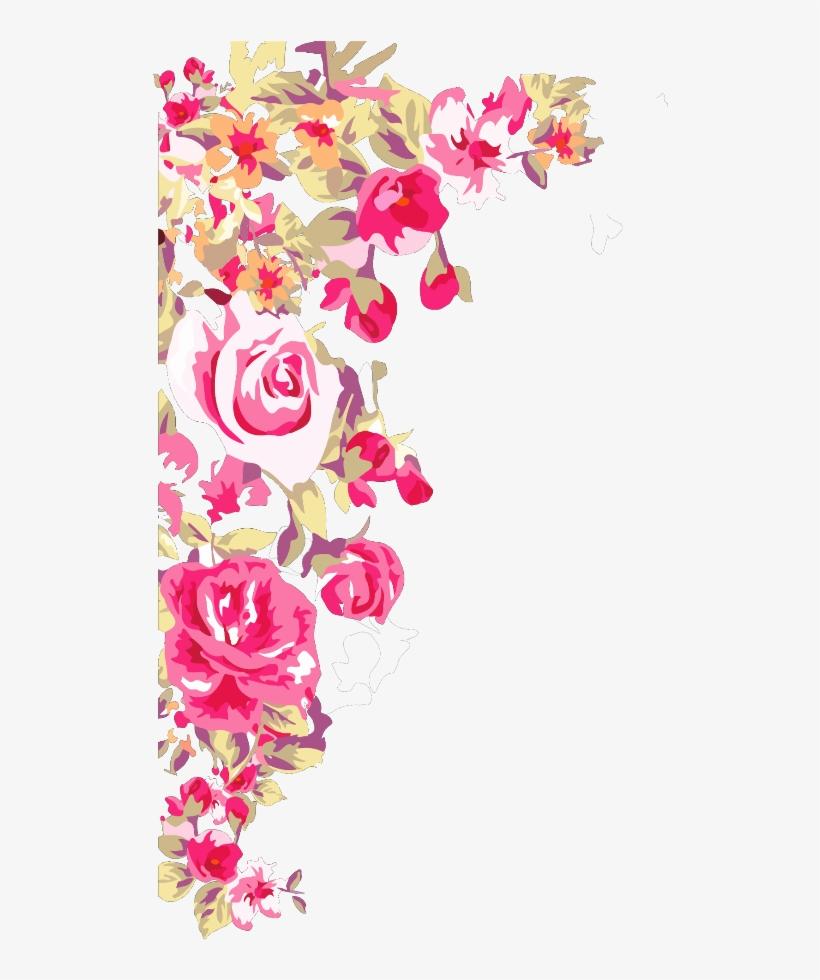 Mq Pink Roses Rose Border Borders - Border Design Corner Flower, transparent png #2793802