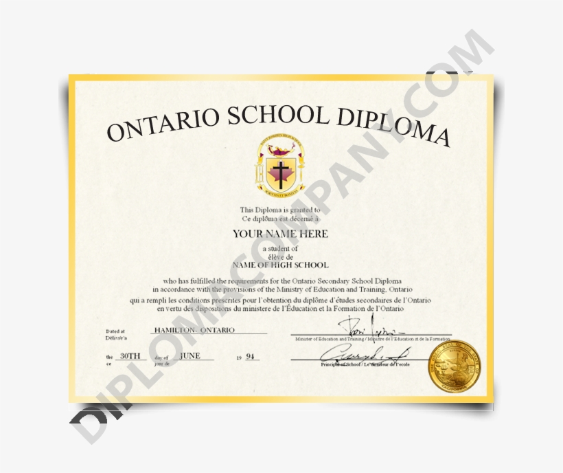 Fake High School Diploma Canada - Us High School Certificate, transparent png #282784