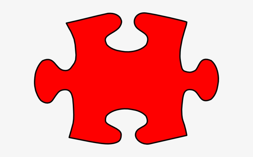 Puzzle piece small. Red jigsaw large clip