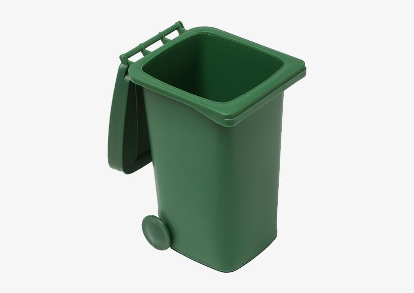 Plastic Desk Trash Bin - Green Trash Can Open Png, transparent png #284015
