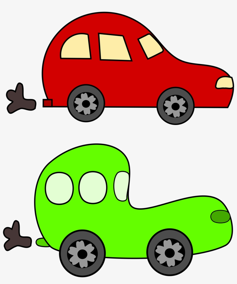 Cartoon Green And Red Cars Big Image - Red Car Green Car, transparent png #288860