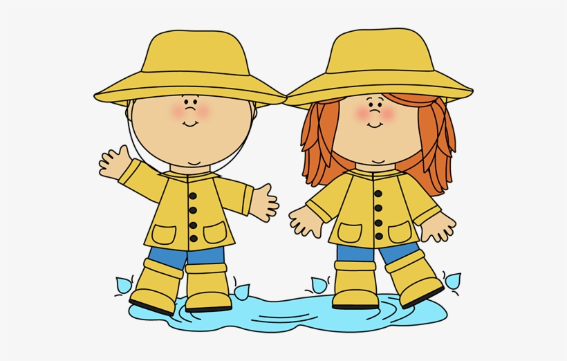 Spring Clipart For Kid - Kids In Rain Clipart, transparent png #288954