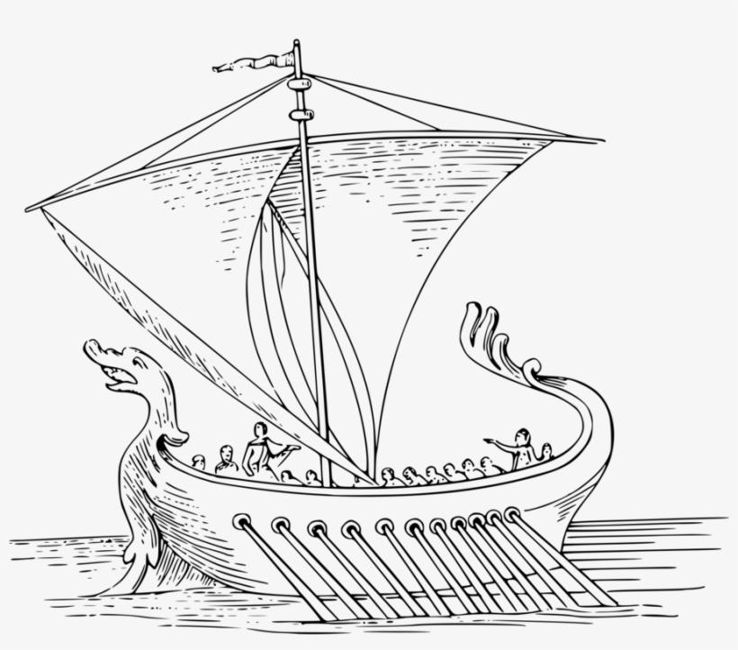 Historic Sailing Ships Coloring Book Sailboat - Roman Ship Line Drawing, transparent png #2805557