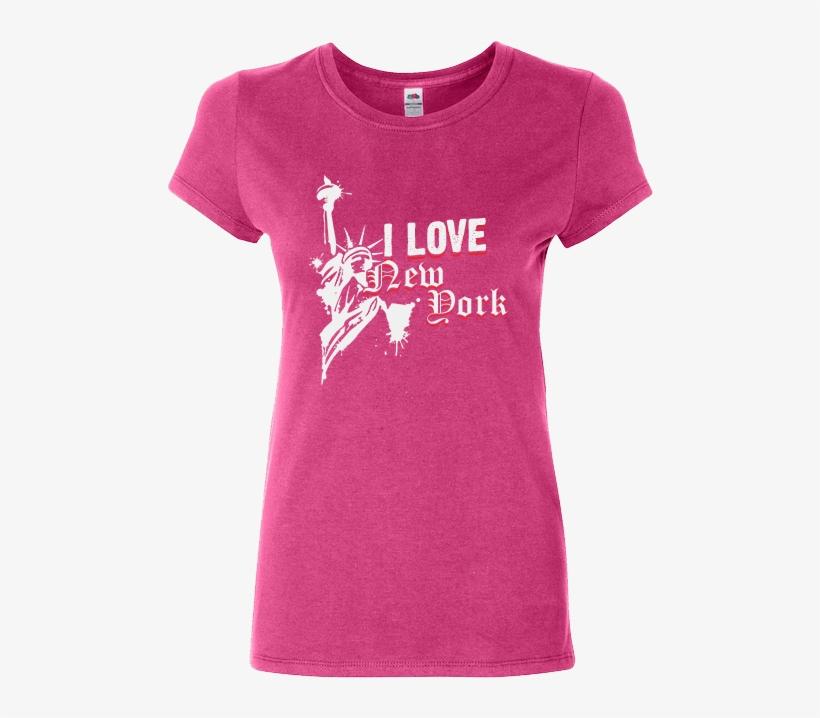 I Love New York T-shirt Pink Ladies - Ladies T Shirt Design New York, transparent png #2806466