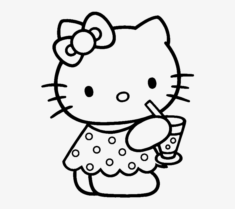 Hello Kitty Was Drinking Delicious Coloring Page - Cartoon Characters For  Colouring - Free Transparent PNG Download - PNGkey