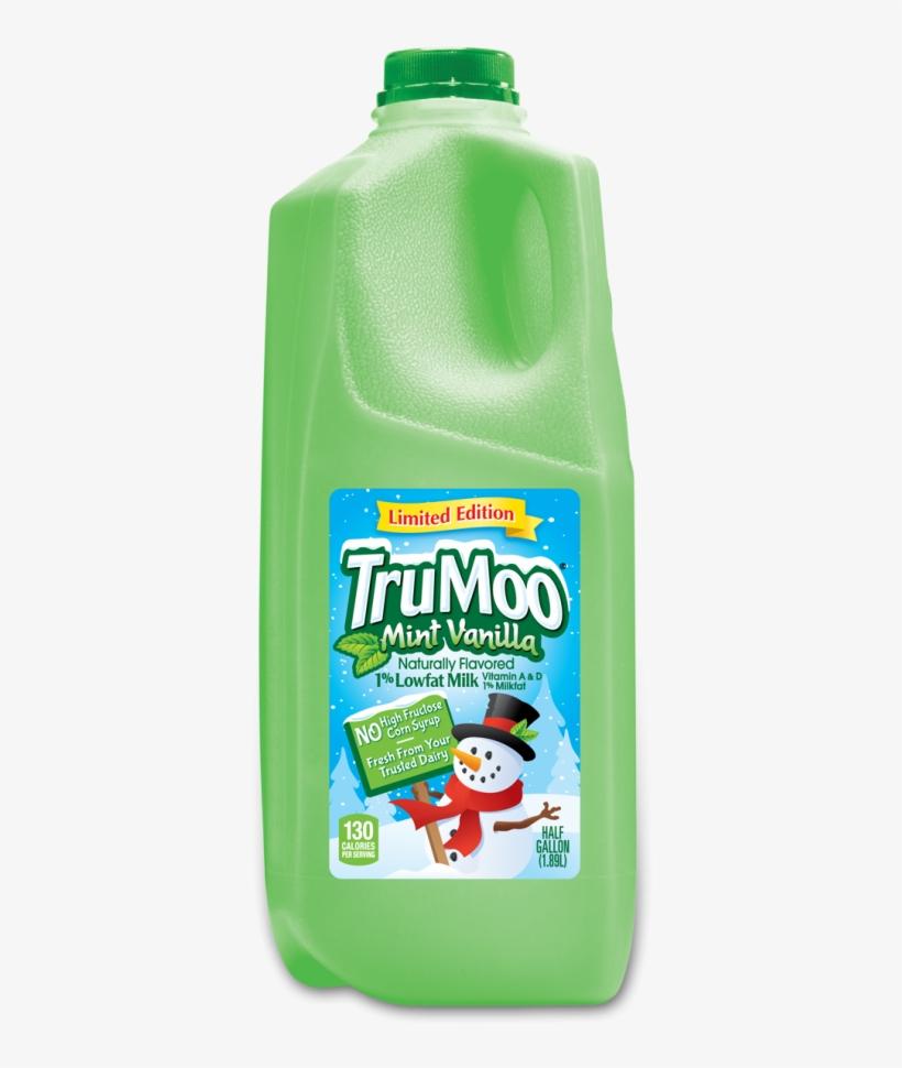 Trumoo Mint Vanilla Green Milk - Trumoo Mint Vanilla 1% Lowfat Milk, 0.5 Gal, transparent png #2822583