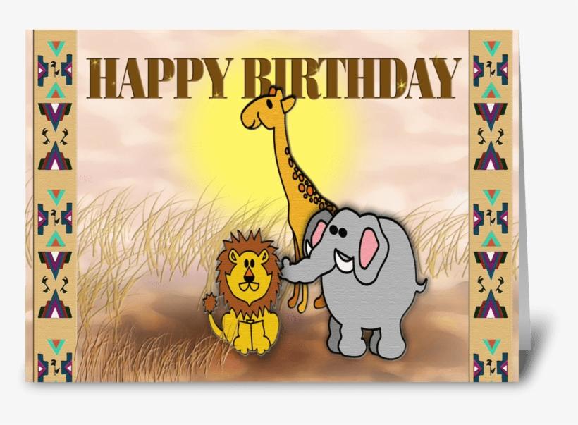 Safari Animals, Happy Birthday Greeting Card - Greeting Card, transparent png #2833745