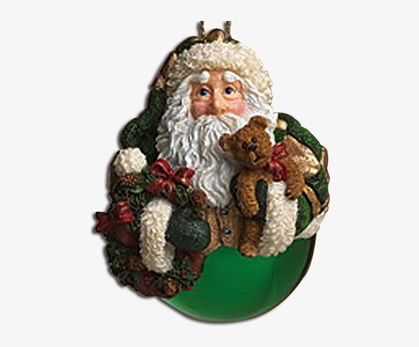 Boyds Father Christmas Shimmering Green Ball Glass - Christmas Ornament, transparent png #2841995