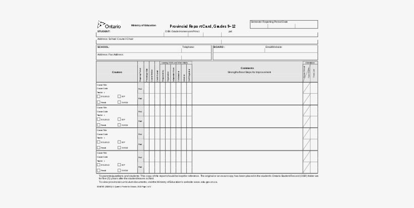 An Ontario Secondary School Report Card - Ontario Secondary School Report Card, transparent png #2846326