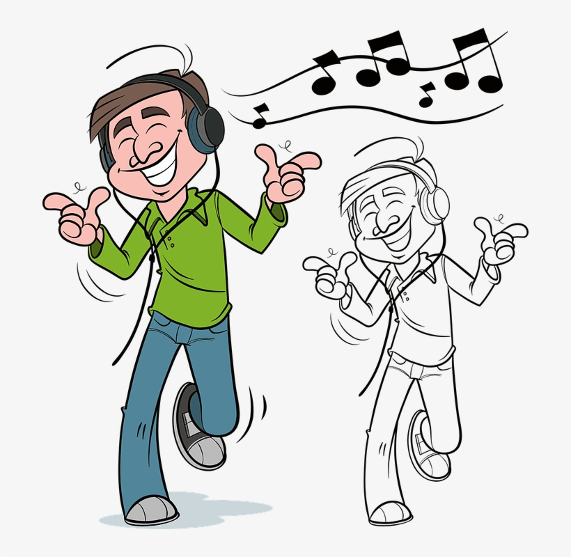 Man, Music, Dancing, Dance, People, Male, Person - Man Listening To Music Clipart, transparent png #2867755