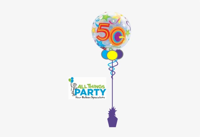 50th Birthday Bubble Balloon Multi Coloured - 50 Birthday Balloon Transparent, transparent png #2870220
