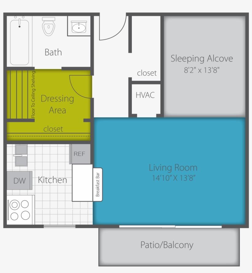 Studio Renovated Floor Plan - Floor Plan, transparent png #2871980