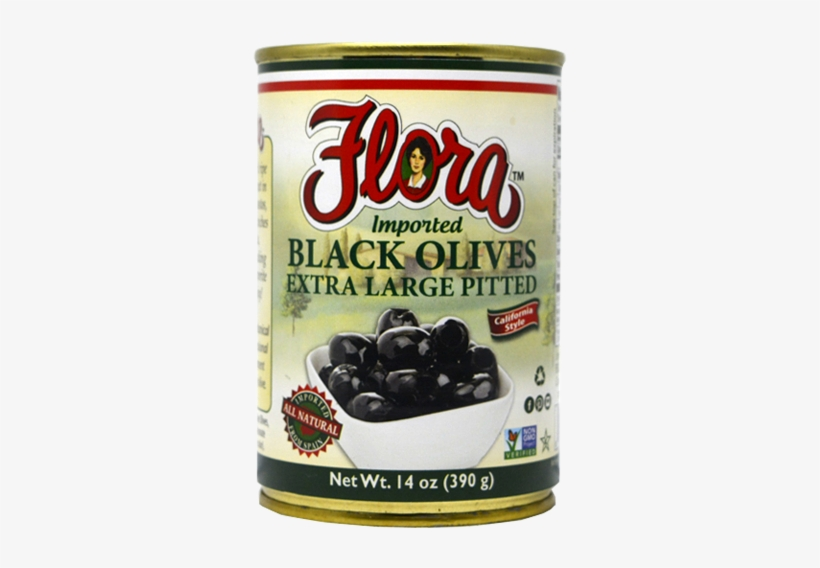 Black Olives Extra Large Pitted - Flora Tomato Basil Sauce, Homestyle - 24 Oz, transparent png #2872381