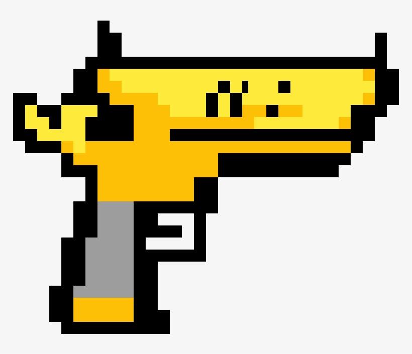 Pistola De Oro Pixel Art Minecraft Guns Free Transparent