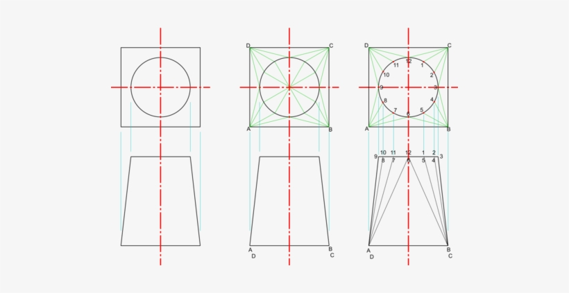 Construction For A Square To Round Transition Piece - Square To Round, transparent png #2877766