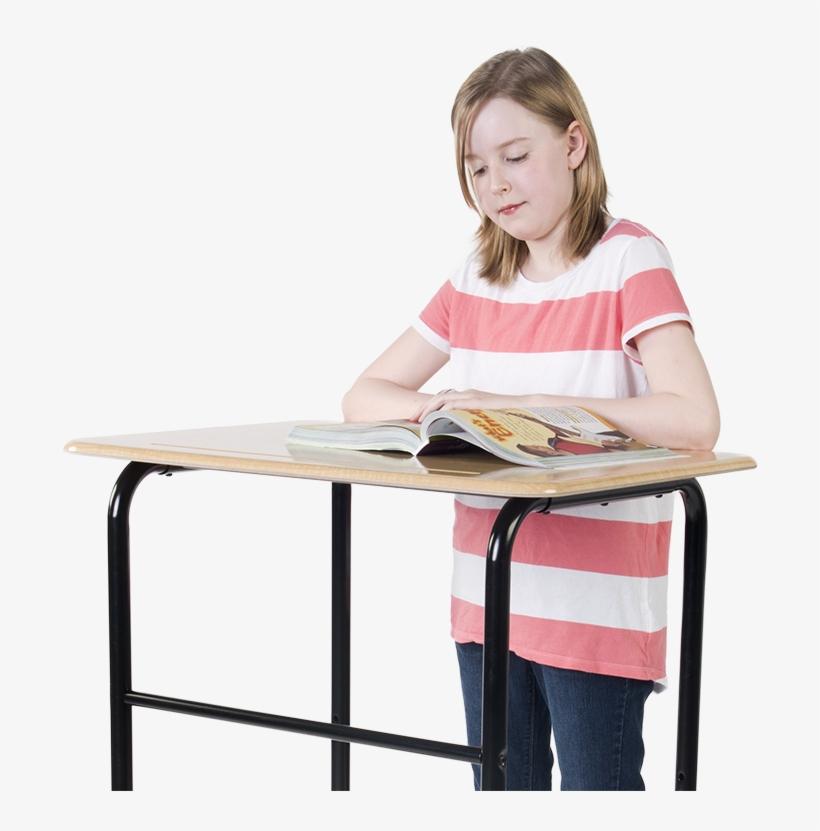Kid Standing At A Orginal Standing Desk - Standing Child Desk, transparent png #2889793