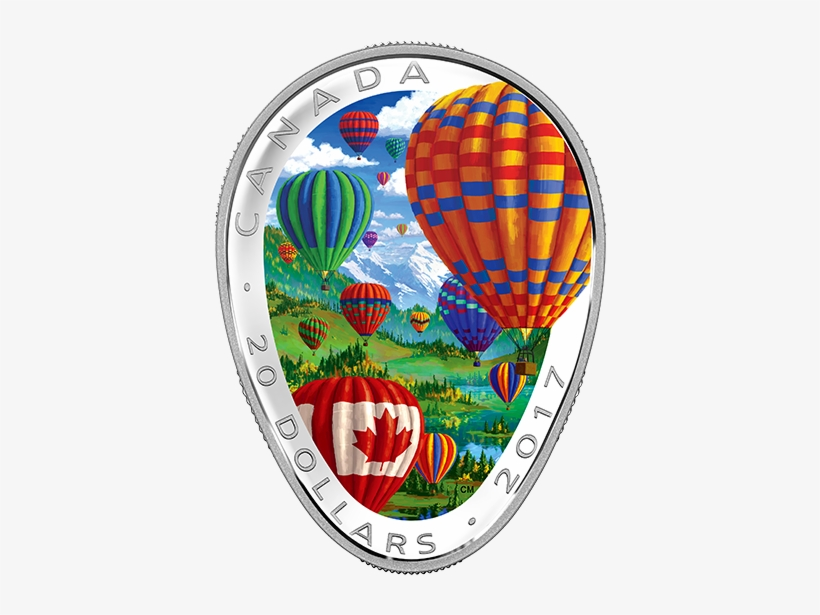 Pure Silver Coloured Coin - 2017 Fine Silver 20 Dollar Coin - Hot Air Balloons, transparent png #2894757