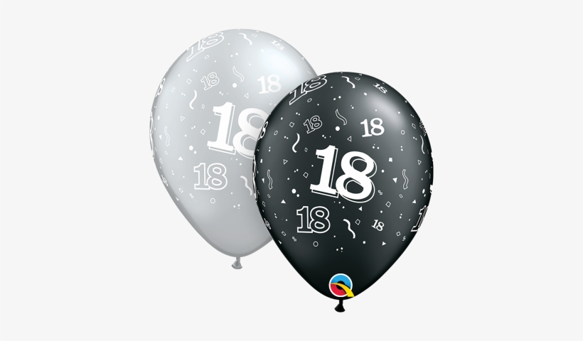 Qualatex 18th Birthday Helium Balloons Age 18 Black - Birthday Balloons, transparent png #2894876