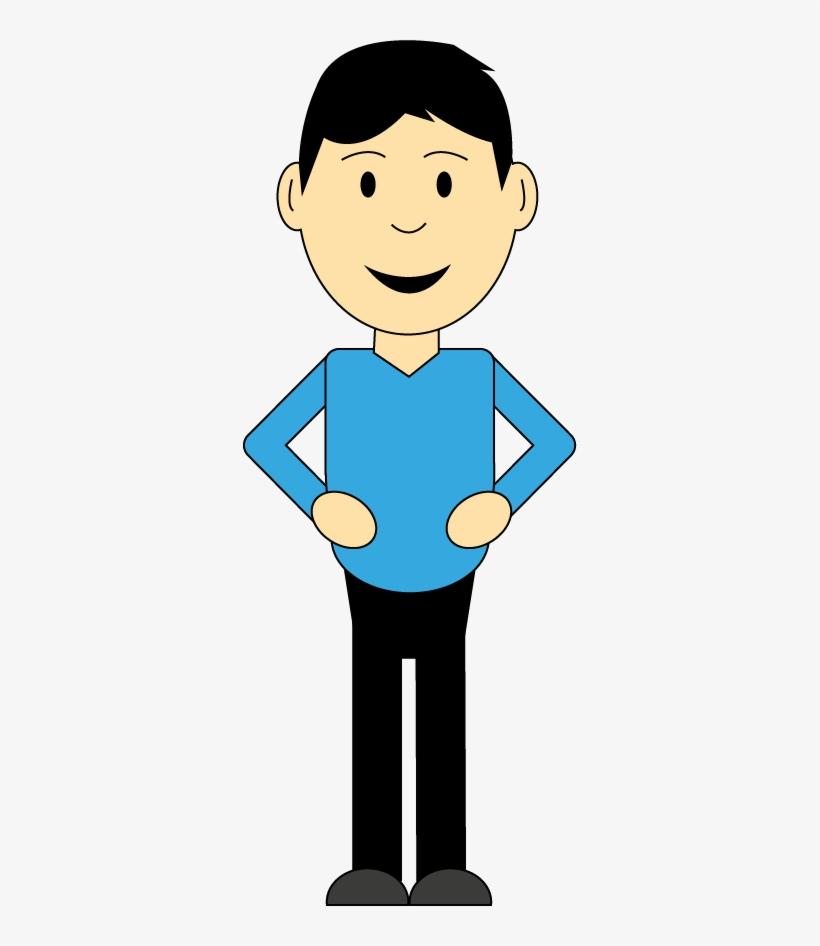 Smiling Cartoon Man With Hands On Hips - Man Cartoon Png Transparent, transparent png #2895258