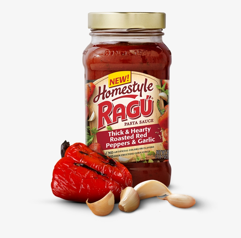 Homestyle Thick & Hearty Roasted Red Peppers & Garlic - Ragu Homestyle Spaghetti Sauce, transparent png #2899009