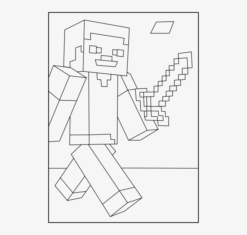 Minecraft Steve 1 On Coloring Page - Steve Minecraft Coloring Pages, transparent png #294182
