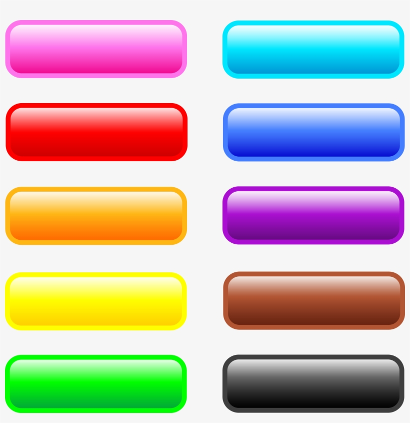 Ten Glossy Rectangle Web Buttons Free Clip - Rectangle Web Buttons, transparent png #299098