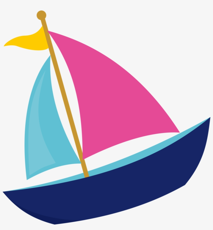 Sailboat Clipart File - Pink And Navy Sail Boat Clip Art, transparent png #2911994