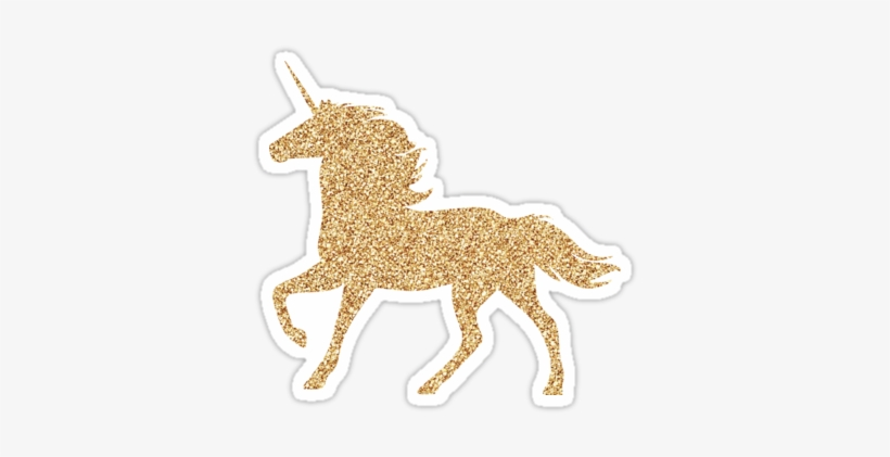 """""""glitter Gold Unicorn """" Stickers By Customsbyt Redbubble - Gold Unicorn Clipart, transparent png #2914328"""
