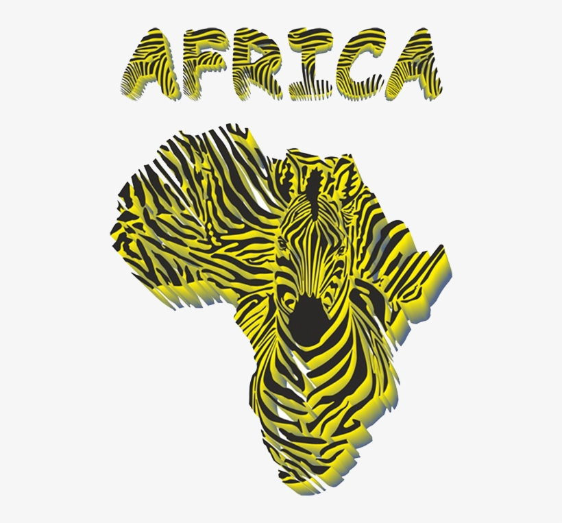 Picture Transparent Stock Giraffe Zebra Illustration - Zebra Africa Shaped Vinyl Sticker Wall Art, Black, transparent png #2916350