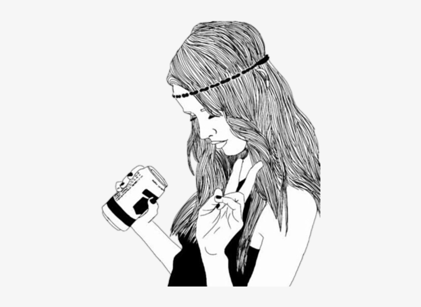 Overlay Tumblr Girl Drinking Drawing Free Transparent Png