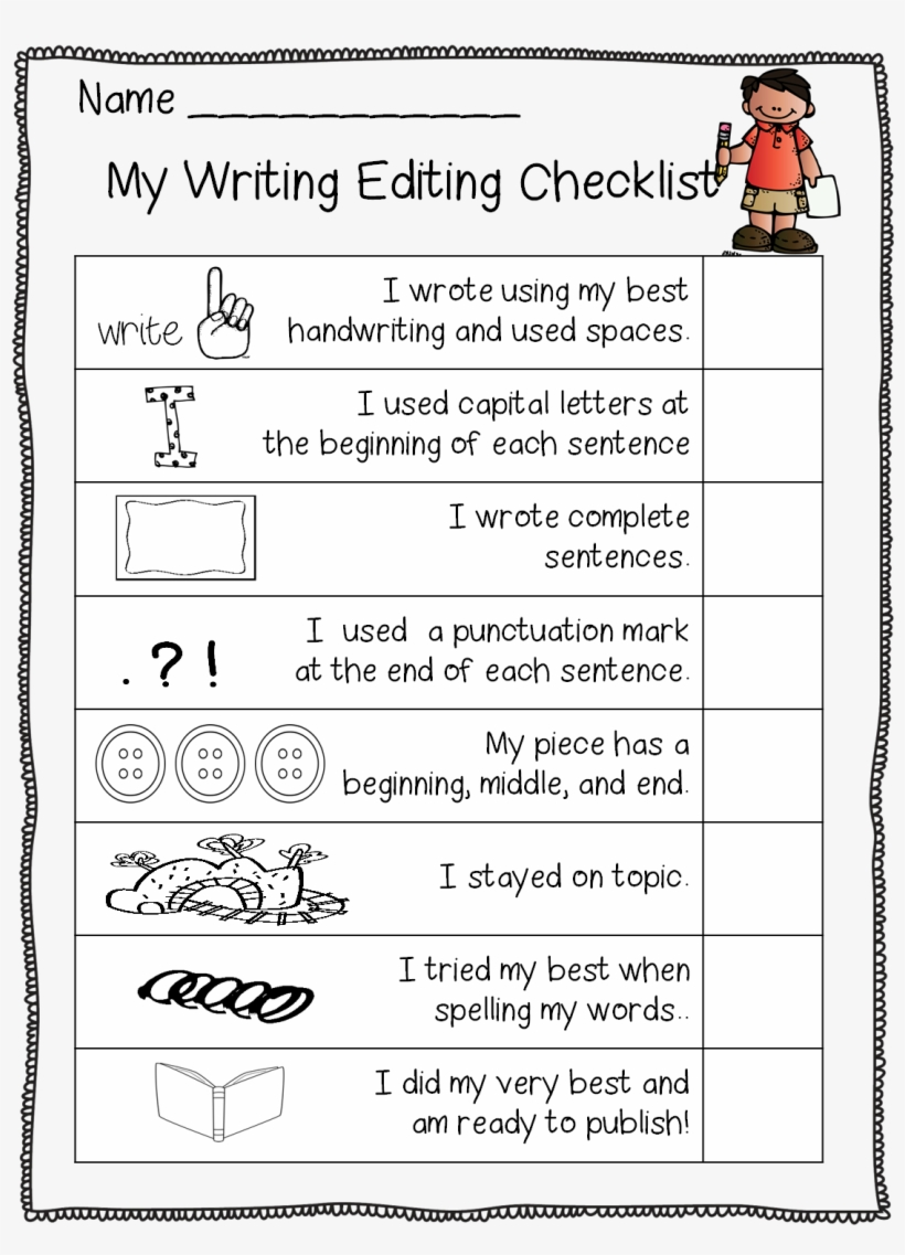 This Is Part Of The Free Editing Set From First Grade - My Writing Editing Checklist, transparent png #2917724
