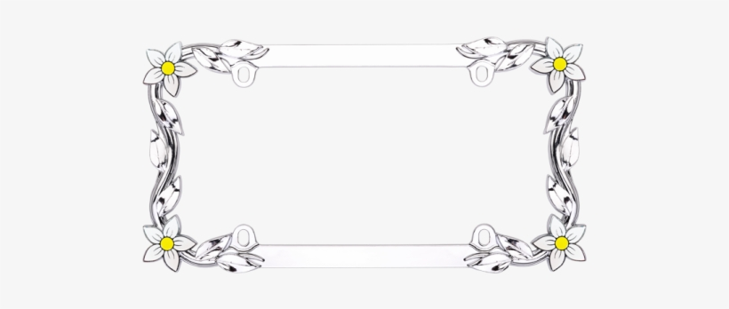 Custom Flowers And Vine License Plate Frame - Cruiser Accessories 19130 Chrome 'daisy' License Frame, transparent png #2934455