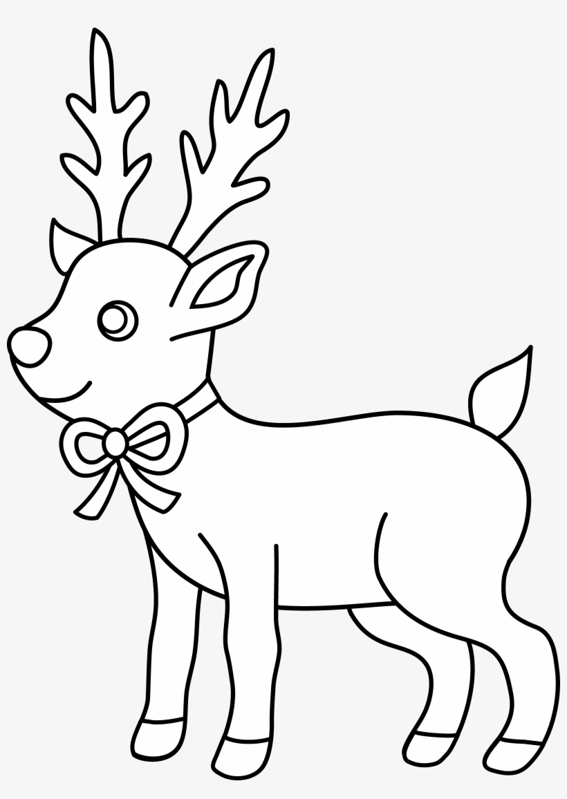 Christmas Reindeer Coloring Page - Christmas Coloring Pages To Print Cute, transparent png #2939422