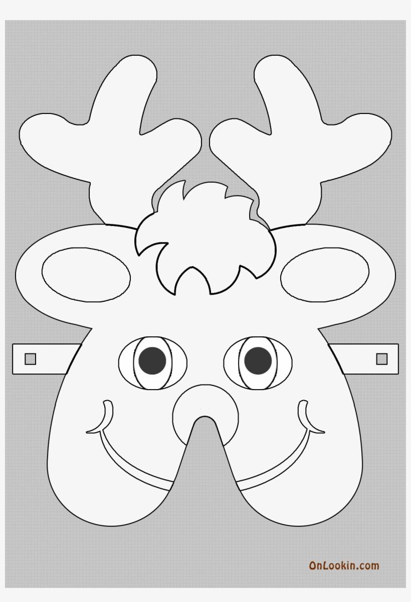 Reindeer Santa Face Mask Cut Out For Print And Colour - Santa Claus, transparent png #2939909