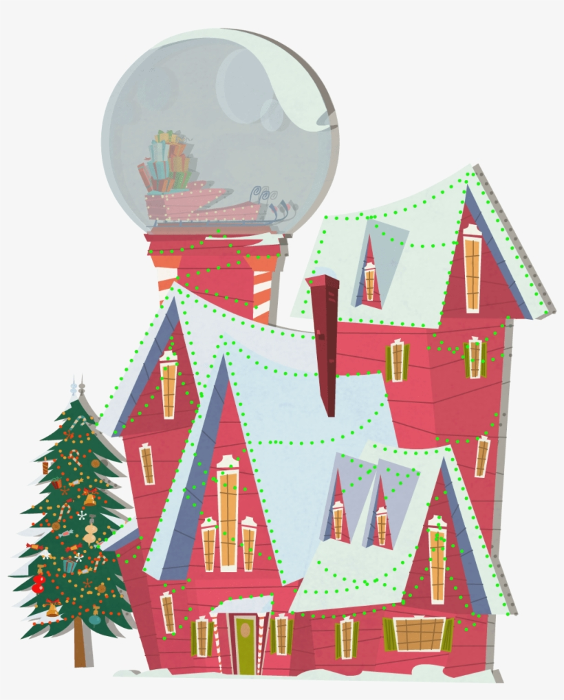 Background Exterior Santa House Winter Globe House - Christmas Tree, transparent png #2941520
