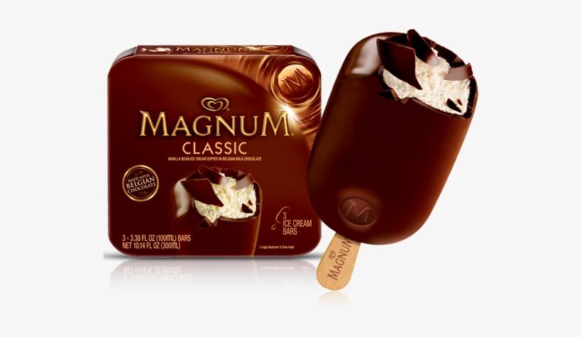 El Famoso Helado Magnum - Magnum Classic Belgian Chocolate Ice Cream Bars, transparent png #2953148